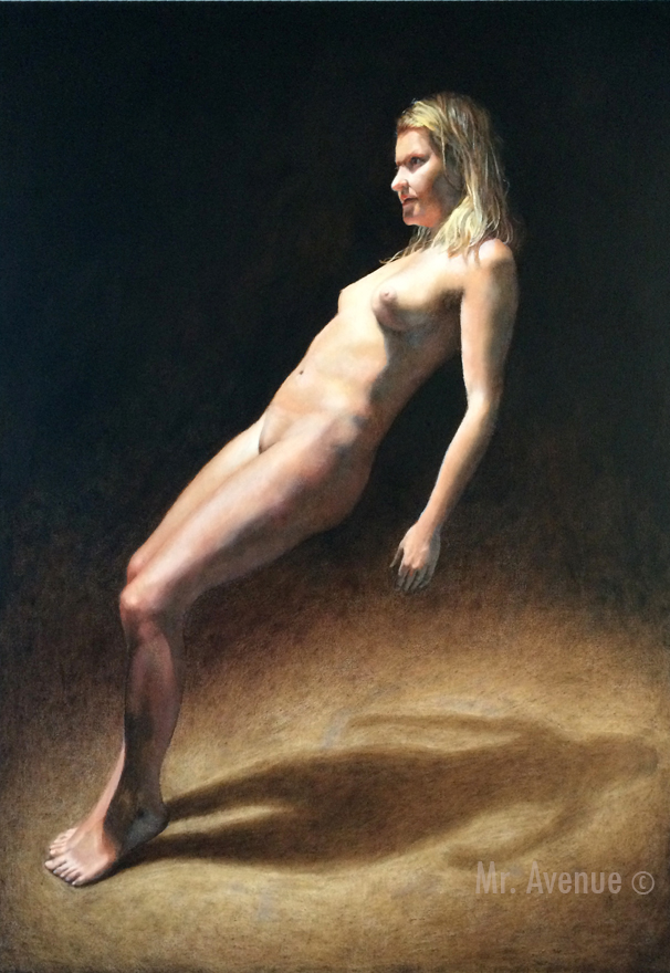 oil painting of a nude woman leaning backwards against nothing